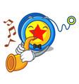 with trumpet yoyo mascot cartoon style vector image