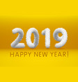 wooly white hairy shaggy wool 2019 happy new year vector image vector image