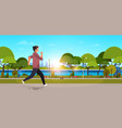 young man jogging outdoors modern public park guy vector image vector image