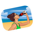 woman drink water on the beach vector image
