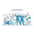 couple business people is superhero management vector image