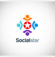 social star colored people logo vector image