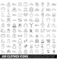 100 clothes icons set outline style vector image vector image
