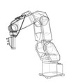 3d outline robotic arm rendering of 3d vector image