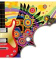 background with a red guitar vector image vector image