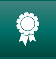 badge with ribbon icon in flat style on green vector image