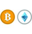bitcoin ethereum logo set top crypto currency vec vector image