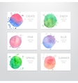 Business card templates with watercolor design vector image vector image