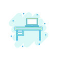 cartoon furniture table with laptop computer icon vector image