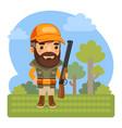 cartoon huntsman in forest vector image
