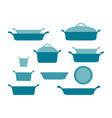 casseroles and baking dishes header collection of vector image vector image