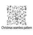 christmas seamless pattern deer doodle cookies vector image