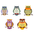 color cartoon owls set in doodle style vector image