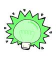 comic cartoon flashing green light bulb vector image vector image