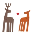 Couple deers and heart isolate on white vector image vector image