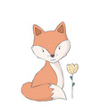 cute fox and flower woodland animal vector image