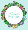 cute houses round pattern with color home vector image vector image