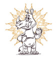 cute rhinoceros standing with ornament vector image vector image
