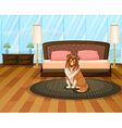 Dog in bedroom vector image