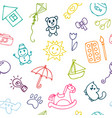 doodle children drawing background seamless vector image vector image