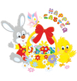 Easter card with Bunny and Chick vector image vector image