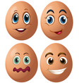 eggs with four different facial expressions vector image