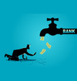 exhausted businessman approaching a water tap vector image vector image