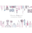 fashion cosmetics horizontal background with make vector image vector image