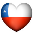 flag of chile in heart shape vector image vector image