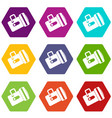 flashlight icon set color hexahedron vector image vector image