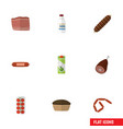flat icon eating set of bottle smoked sausage vector image vector image