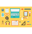 Flat set of equipment for education vector image vector image