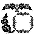 floral ornamental decorations black filigree vector image