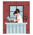 freelancer working from home student doing tasks vector image vector image