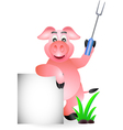 funny pig chef cartoon with fork and blank sign vector image vector image