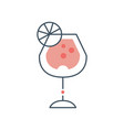 glass goblet with summer cocktail vector image