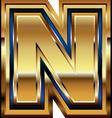 Golden Font Letter N vector image