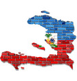 haiti map on a brick wall vector image