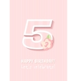 Happy Birthday for girl 5 Years vector image