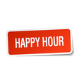 happy hour red square sticker isolated on white vector image vector image