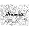 hawaii coloring book line art design vector image vector image