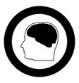 head with brain the black color icon in circle or vector image vector image