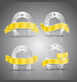 horseshoe and ribbon concept icons set vector image vector image