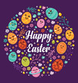 kawaii happy easter icons background vector image vector image
