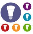 led bulb icons set vector image vector image