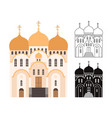 line and flat church buildings vector image vector image