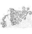line art water element girl vector image vector image
