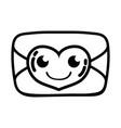 line smile love card kawaii cartoon vector image