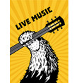 live music animal paw with guitar musical poster vector image