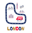 london poster with text and landmarks vector image vector image